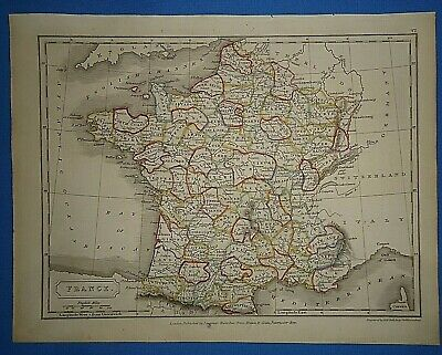 Antique 1825 FRANCE MAP Old Vintage Original Hand Colored Atlas Map