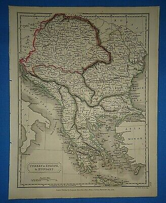Antique 1825 TURKEY - HUNGARY - GREECE MAP Old Vintage Original Hand Colored Map