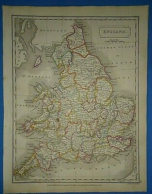Antique 1825 ENGLAND MAP Old Vintage Original Hand Colored Atlas Map