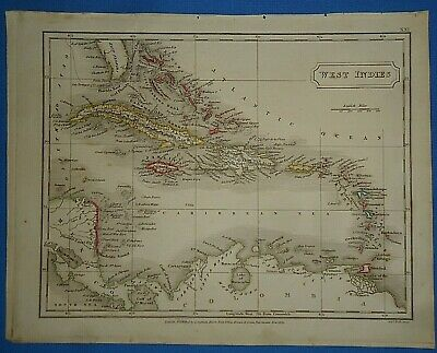 Antique 1825 CARIBBEAN - WEST INDIES MAP Old Vintage Original Hand Colored Map