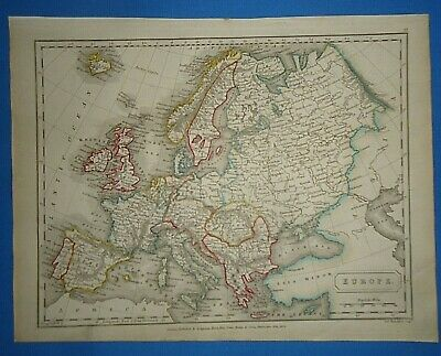 Antique 1825 EUROPE MAP Old Vintage Original Hand Colored Atlas Map