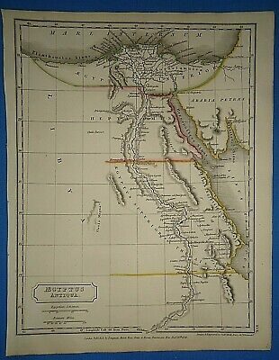 ANCIENT EGYPT MAP Printed in 1825 Old Vintage Original Hand Colored Atlas Map