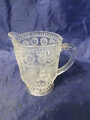 Vintage Old Antique Decorative Glass Small Jug Greek Key Raised Bobbles