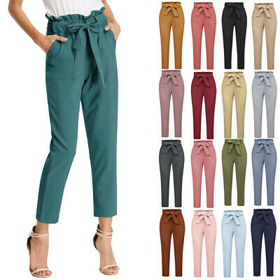 Pants Office Army Green GRACE KARIN Trouser Pockets Cropped Paper Bag Waist