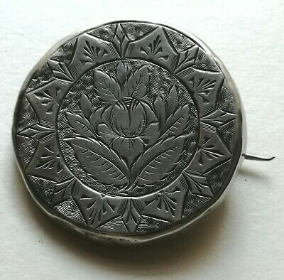 Antique Victorian Engraved Silver on Brass Button Pin Brooch - NO RESERVE