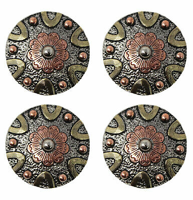 Concho Set of 4 Conchos Western Saddle Tack Copper Flower Co543