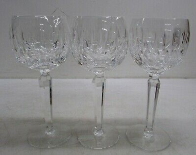 "3x Waterford Fine Cut Crystal 9"" All Purpose Wine Glass Goblets"
