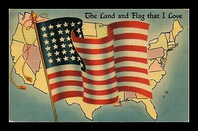 Dr Jim Stamps Us Land And Flag I Love Linen Tichnor Wwii Postcard 1943