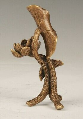 Unique Chinese Bronze Hand Carving Flower Lotus Statue Figurine Old Collection