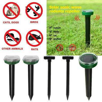 2Pcs Solar Power Ultrasonic Sonic Mouse Pest Rodent Repeller Anti Mosquito Lawn