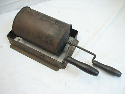 Early Fireplace Stove Roasting Drum Nut Popcorn Popper Coffee Bean Fire Chestnut