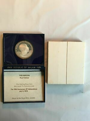 1974 Malawi 10 Kwacha Silver Proof Lot#B068 10th Anniversary of Independence