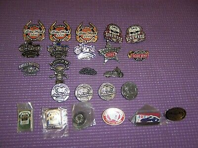 Lot of 24 Harley Davidson Motorcycle Pins Sturgis AMA Bike Lapel Hat Pin