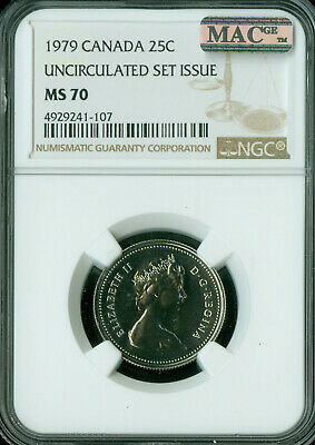 1979 Canada 25 Cents Ngc Mac Ms-70 Solo Finest Very Rare   *
