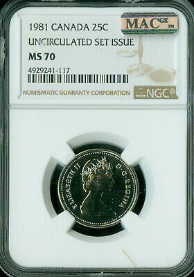 1981 Canada 25 Cents Ngc Mac Ms-70 Solo Finest Very Rare   *