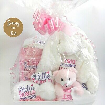 Personalised Luxury Gift Hamper, Pink Girl Basket, Custom Embroidered Set