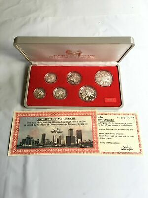 1985 Singapore 6 Coin Silver Proof Set Lot#B88 1 Cent-$1 Dollar Scarce Set!
