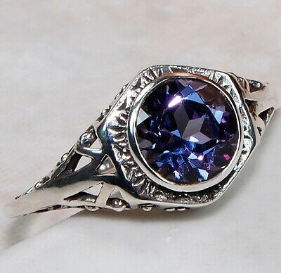 1CT Color Changing Alexandrite 925 Sterling Silver Art Deco Ring Jewelry Sz 8