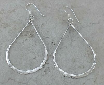 LARGE 925 HIGH POLISH STERLING SILVER HAMMERED DANGLING EARRINGS  style# e1098