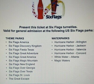 Two Tickets: ANY Six Flags Theme or Water Park, 1 Day Admission. Fast eVoucher