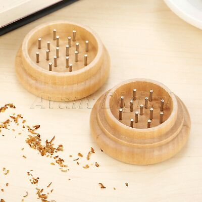 Metal Tobacco Grinder Herb Spice Crusher Wooden Case With 31 Nail Teeth Hot Sale