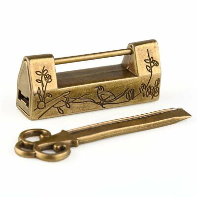 Chinese Old Style Antique Bronzy Carved Bird Flower Leaf Padlock Lock with Key