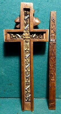 "Antique 18th Cent. 10.39"" HANDCARVED WOOD CRUCIFIX CROSS RELIQUARY w/ 9 RELICS"