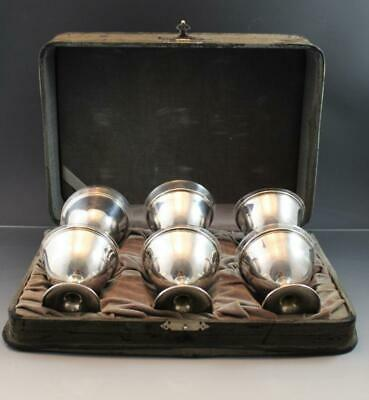 Antique Set of 6 Sterling Silver Sorbet Cups w/ Glass Inserts & Fitted Case
