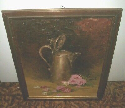 Vintage Framed Oil Painting Water Pitcher w/ Flowers 18 x 22 - Signed J. Dueck