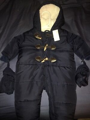 NEW / The Childrens Place Baby Navy Blue White Snowsuit Tidal   3-6  Months