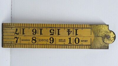 VINTAGE J.RABONE SONS BOXWOOD FOLDING WOODEN RULER No 1167 MADE IN ENGLAND
