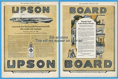 1923 UPSON BOARD Lockport NY 1920s Living Room Vintage Print