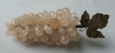 ANTIQUE Vintage ROSE QUARTZ STONE ~ BUNCH of GRAPES ~ RARE FIND ~ 200grams