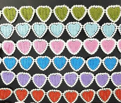 2Yd Embroidery Heart-shaped Lace Sewing clothing accesories applique Lace DIY