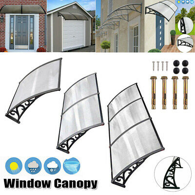 Door Canopy Awning Rain Shelter Front Back Door Shade Patio Roof Black White New