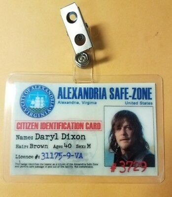 The Walking Dead ID Badge-Alexandria Daryl Dixon cosplay costume prop