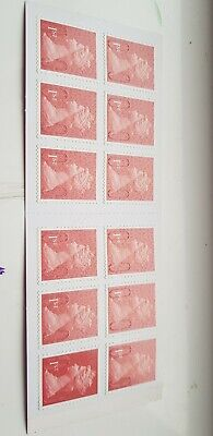 12 1st CLASS Stamps NEW Royal Mail Postage Stamp First Book Sheet