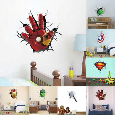 3D Wall Decal Super Hero Avenger Cartoon Wall Sticker Film Figure Mural Decor
