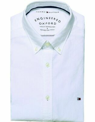 Camicia da Uomo Tommy Hilfiger Engineered Oxford Bianca MW0MW03015 Regular Fit