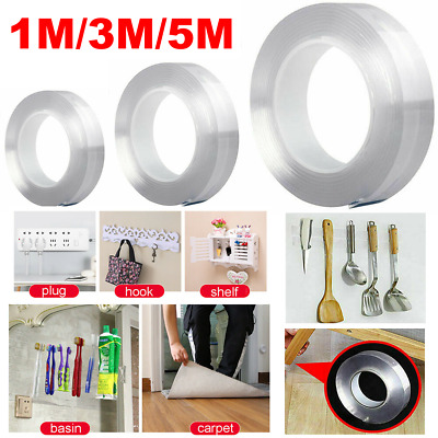 3/5M Multi-function Two sided Adhesive Tape Washable Removable Gel Grip Sticker