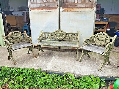 Cast Iron colbrookdale Victorian Bench Garden Seat and chairs ornate dog