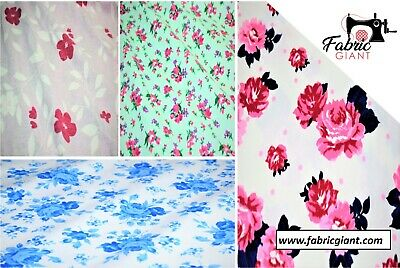 100% Brushed/Brush Cotton Printed Winceyette Flannel Fabric,Floral Print, 4 Des.