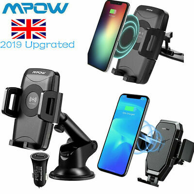 Mpow 360° Qi Wireless Car fast Charger Phone Mount Holder Dashboard CD Slot New