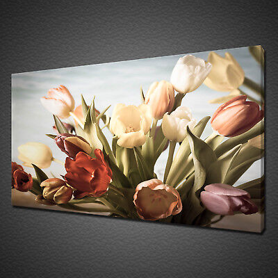 Beautiful Pastel Tulips Flowers Vintage Canvas Print Wall Art Picture Photo