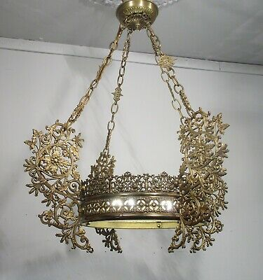 Antique Vintage French Bronze Chandelier 4 Lt. Fixture Lamp Early 1900's Ornate