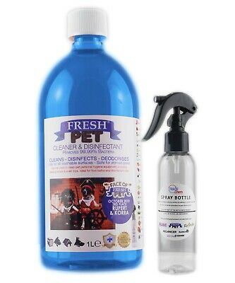 Fresh Pet Disinfectant Cleaner Animal Safe 1L with Trigger Spray Baby Powder