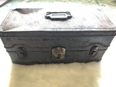 Vintage Climax Fishing Tackle Box Grey Patina Metal Case Art Box Decor 2 Tray