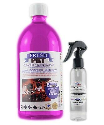 Fresh Pet Disinfectant Cleaner Animal Safe 1L with Trigger Spray Pink Grapefruit