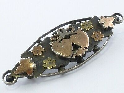 Antique Gold &  925 Sterling Silver Lovers' Hearts Brooch 4g br37