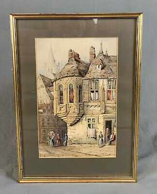 19th Century Watercolour Painting French Street Scene After Samuel Prout